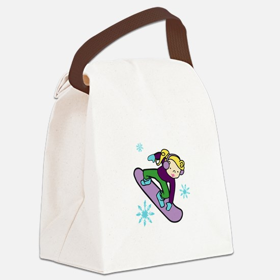 Girl Snowboarder Canvas Lunch Bag