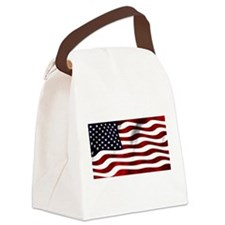 Funny Green american flag Canvas Lunch Bag