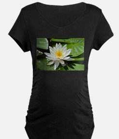 White Lotus Flower Maternity T-Shirt