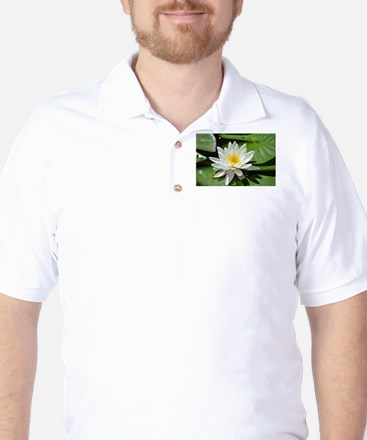 White Lotus Flower Golf Shirt