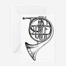 Beautiful Black and White French Hor Greeting Card