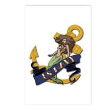 Navy Mermaid Tattoo Postcards (Package of 8)