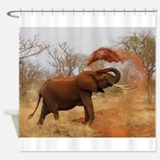 Funny Black white elephant Shower Curtain