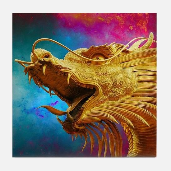 Unique Dragon on castle Tile Coaster