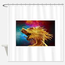 Cute Dragon on castle Shower Curtain