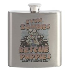 Even Zombies Rescue Puppies Flask