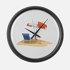 Beach Umbrella Large Wall Clock