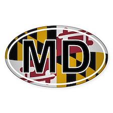 Md - Maryland Oval Car Sticker Flag Design