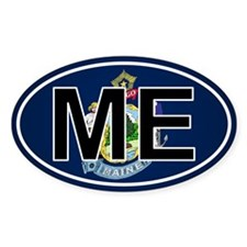 Me - Maine Oval Car Sticker Flag Design