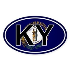 Ky - Kentucky Oval Car Sticker Flag Design