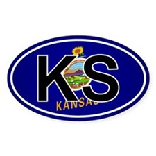 Ks - Kansas Oval Car Sticker Flag Design