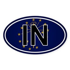 In - Indiana Oval Car Sticker Flag Design