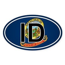 Id - Idaho Oval Car Sticker Flag Design