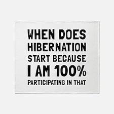Participating In Hibernation Throw Blanket
