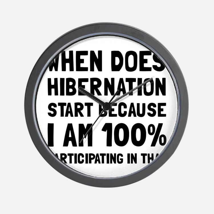 Participating In Hibernation Wall Clock