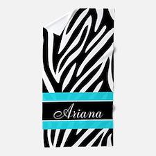 Zebra Print Teal Personalized Beach Towel