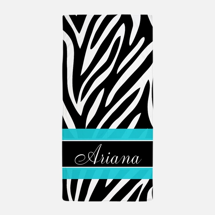 Zebra Print Teal Personalized Beach Towel