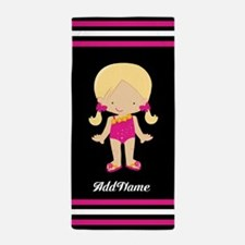 Beach Pool Girl Stripes Custom Beach Towel