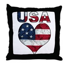 USA Heart-Americana Throw Pillow