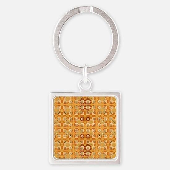 Tribal Batik - amber and brown Square Keychain