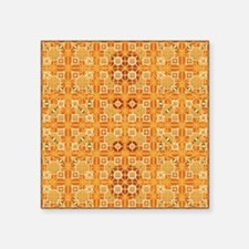 "Tribal Batik - amber and br Square Sticker 3"" x 3"""