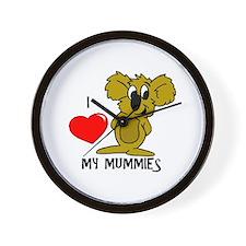 I Love My Mummies Koala Wall Clock