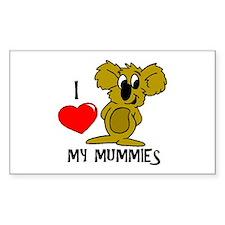 I Love My Mummies Koala Rectangle Decal