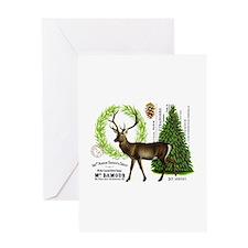 modern vintage woodland winter deer Greeting Cards