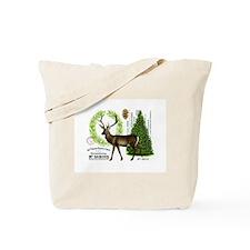 modern vintage woodland winter deer Tote Bag