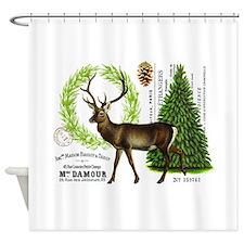 modern vintage woodland winter deer Shower Curtain