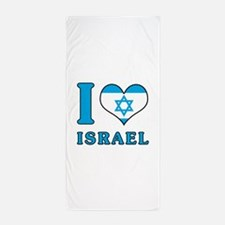 I Love Israel - Flag with Magen David Beach Towel