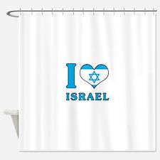 I Love Israel - Flag with Magen David Shower Curta