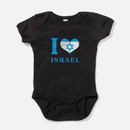 I Love Israel - Flag with Magen David Baby Bodysui