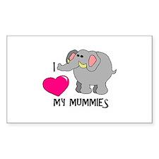 I Love My Mummies Elephant Rectangle Decal