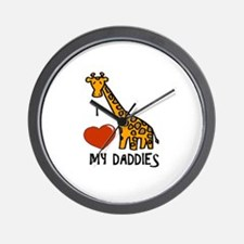 I Love My Daddies Giraffe Wall Clock