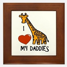 I Love My Daddies Giraffe Framed Tile