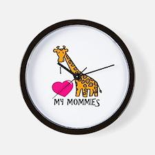 I Love My Mommies Giraffe Wall Clock