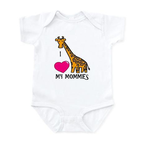 I Love My Mommies Giraffe Infant Bodysuit
