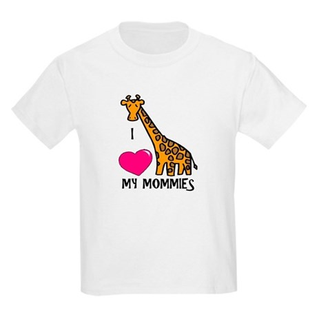 I Love My Mommies Giraffe Kids Light T-Shirt