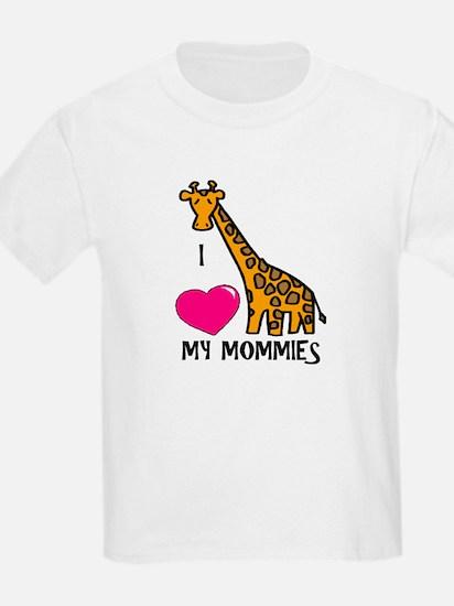 I Love My Mommies Giraffe T-Shirt