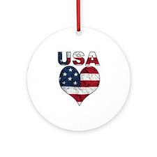 USA Heart-Americana Ornament (Round)