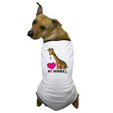 I Love My Mummies Giraffe Dog T-Shirt