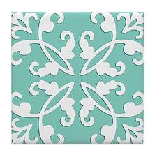 Lacy cutwork - seafoam green Tile Coaster