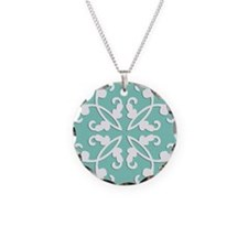 Lacy cutwork - seafoam green Necklace Circle Charm