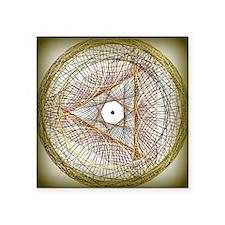 "Golden Spyrograph Square Sticker 3"" x 3"""