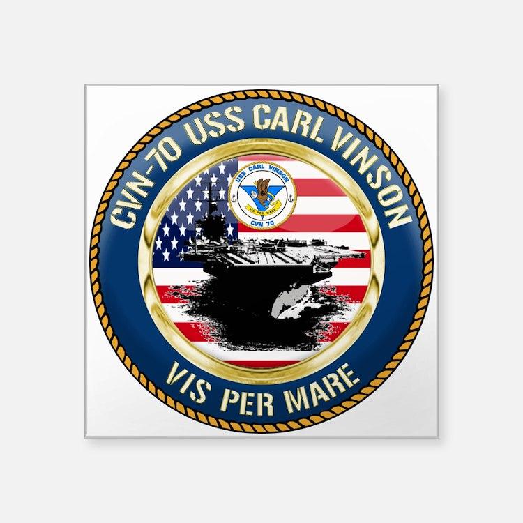 "CVN-70 USS Carl Vinson Square Sticker 3"" x 3"""