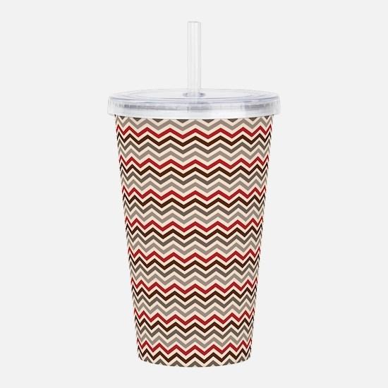 Red Gray Chevron Zigzags Acrylic Double-wall Tumbl