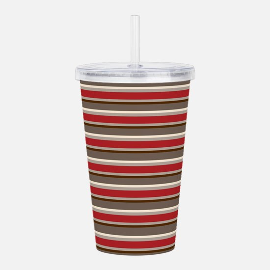 Red Gray Brown Horizontal Stripes Acrylic Double-w