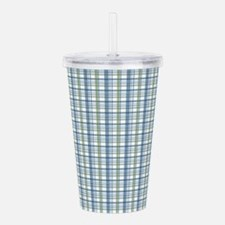 Blue Green Plaid Print Acrylic Double-wall Tumbler