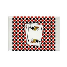 Red Black Cards Magnets
